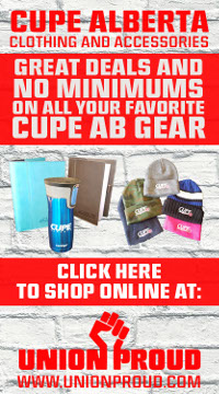 Click here to shop online for CUPE Alberta clothing and accessories at Union Proud